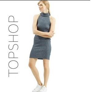 TOPSHOP Navy Turtle Neck Sleeveless Knit Dress 8